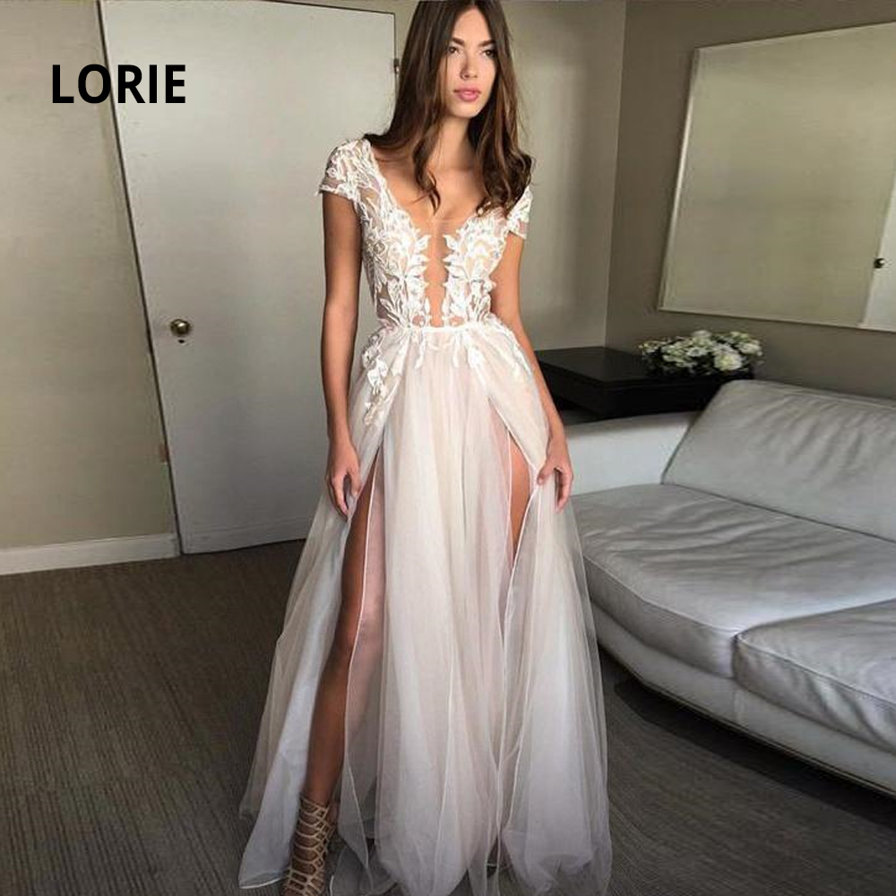 LORIE Elegant Lace Appliqued Soft Tulle Wedding Dresses Sexy V-neck Cap Sleeve Backless Beach Bridal Gowns With Double Split