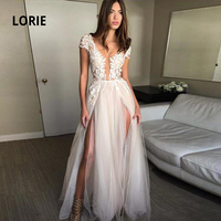 LORIE Elegant Lace Appliqued Soft Tulle Wedding Dresses Sexy V neck Cap Sleeve Backless Beach Bridal Gowns with Double Split