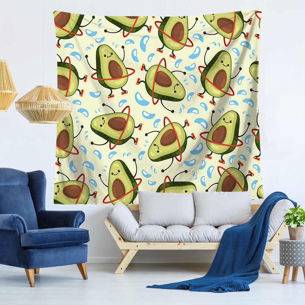 Настенный гобелен с принтом авокадо, тканевый Настенный Ковер, подвесной домашний декор, пляжный коврик, принадлежности для колдовства, 75*90 см, 0010