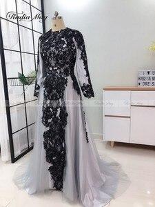 Image 3 - Vestidos de Noche grises y musulmanes hiyab de manga larga, vestido árabe para baile de graduación, apliques de Dubái con cuentas para mujer, vestidos formales de fiesta de boda 2019