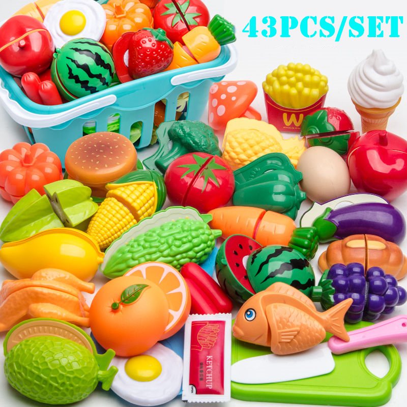 43 шт. новых детей игровой домик игрушки Фрукты Пластиковые овощей Кухонные Детские классические детские игрушки Playset развивающие игрушки