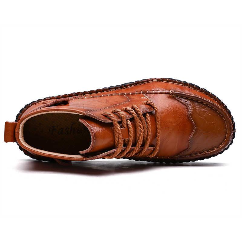 2019 yeni sonbahar kış inek bölünmüş deri erkek botları rahat motosiklet botları erkek ayakkabı kauçuk yarım çizmeler erkek ayakkabıları