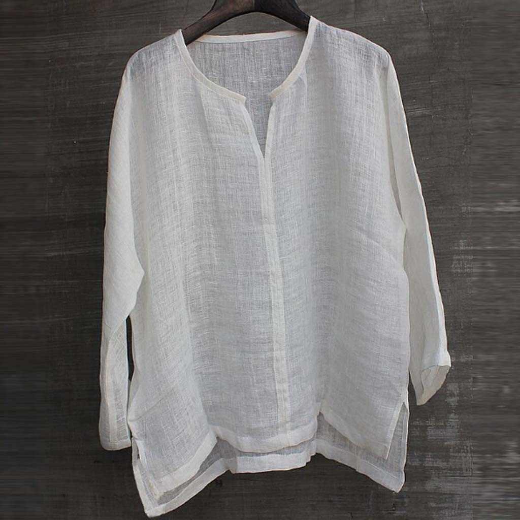 Plus Kích Thước Nam Baggy Cotton Linen Túi Chắc Chắn Dài Tay Retro Áo Sơ Mi Top Áo Hawaii Camisa Masculina Camisas Hombre # YL5