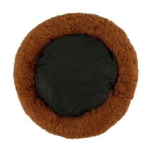 Image 4 - Uzun peluş yumuşak Pet köpek yatağı gri yuvarlak kedi kış sıcak uyku yatakları çantası yavru köpek yastık Mat taşınabilir evcil hayvan malzemeleri willstar