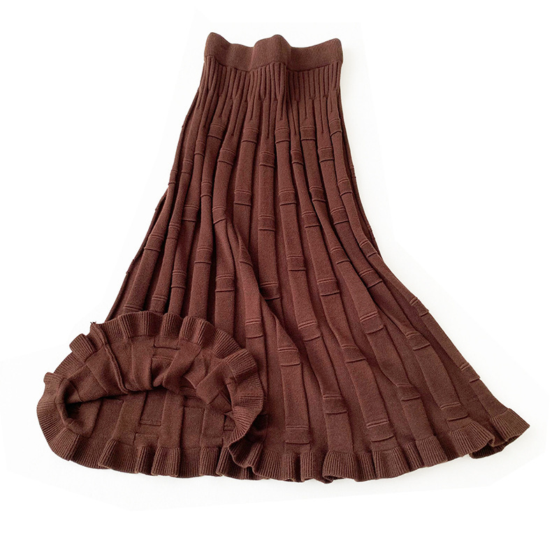 2019 Women Knitted A-line Skirt Autumn Winter Color Patch High Waist Women Long Skirt Female Ladies Maxi Midi Skirt Saia