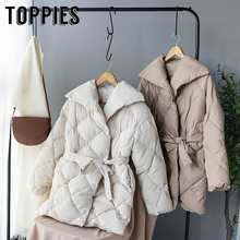 Winter Coat Women Double Breasted Puffer Jacket Korean Ladies Parkas Lace Up Cot