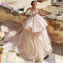 Detmgel New Arrival O-Neck Button Lace A-Line Wedding Dresses 2019 Luxury Beaded Appliques Princess Bridal Gown Vestido de Noiva