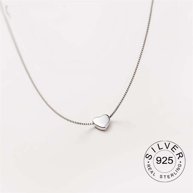 Real S925 Sterling Silver Simple Cute Heart Necklace Korean Fashion Tide Flow Small Fresh Set Chain High Quality