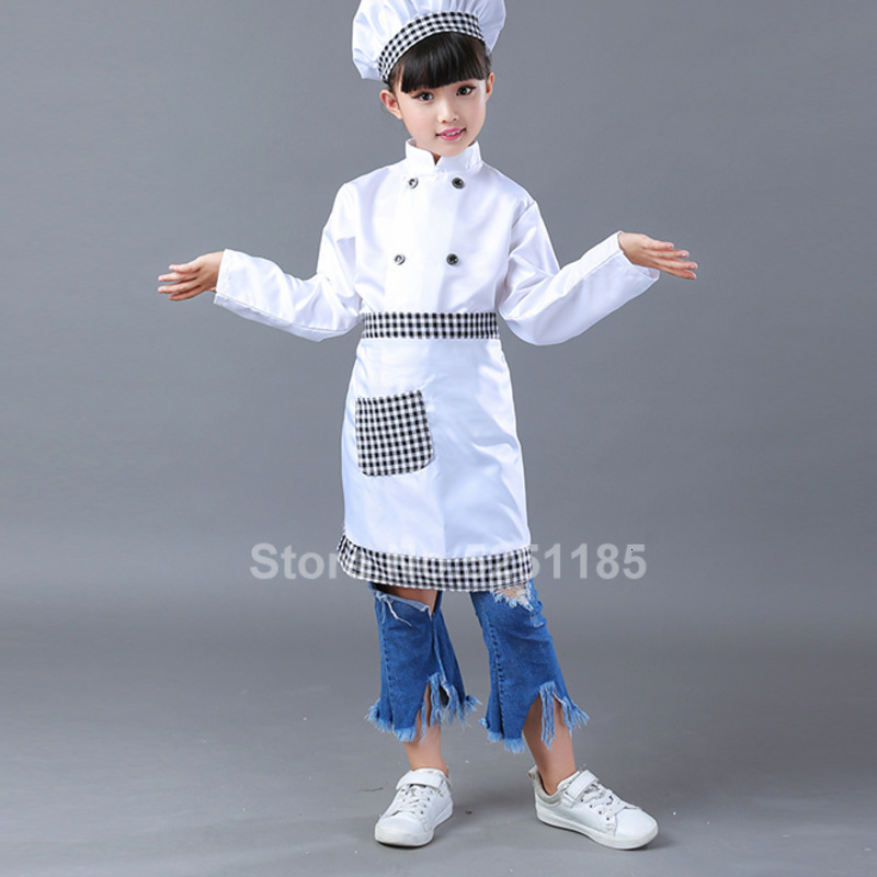 Kids Chef Jackets Hat Kitchen Restaurant Cook Uniform Role Play Cosplay Costume Halloween Children Waiter Waitress Clothing Sets