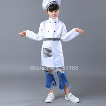 Kids Chef Jassen Hoed Keuken Restaurant Kok Uniform Rollenspel Cosplay Kostuum Halloween Kinderen Kelner Kleding Sets(China)