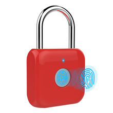 USB Charging Fingerprint Lock Smart Electric Lock Door Footprint padlock Locker Box Cabinet Drawer Security Padlock P8 Red  lock