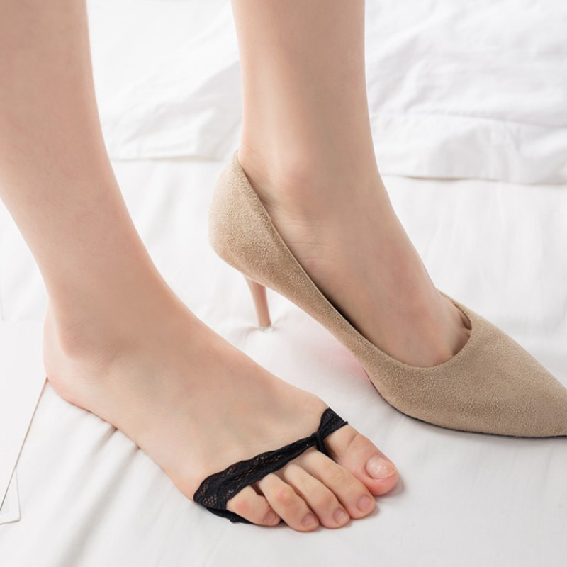 Heels Cushion Anti-Slip Silicone Dotted Invisible Women Forefoot Insole Pad Front Heel Socks Half Pad