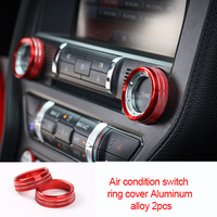 For Ford Mustang Red 2015 2020 Aluminum alloy Air condition switch ring cover 2pcs
