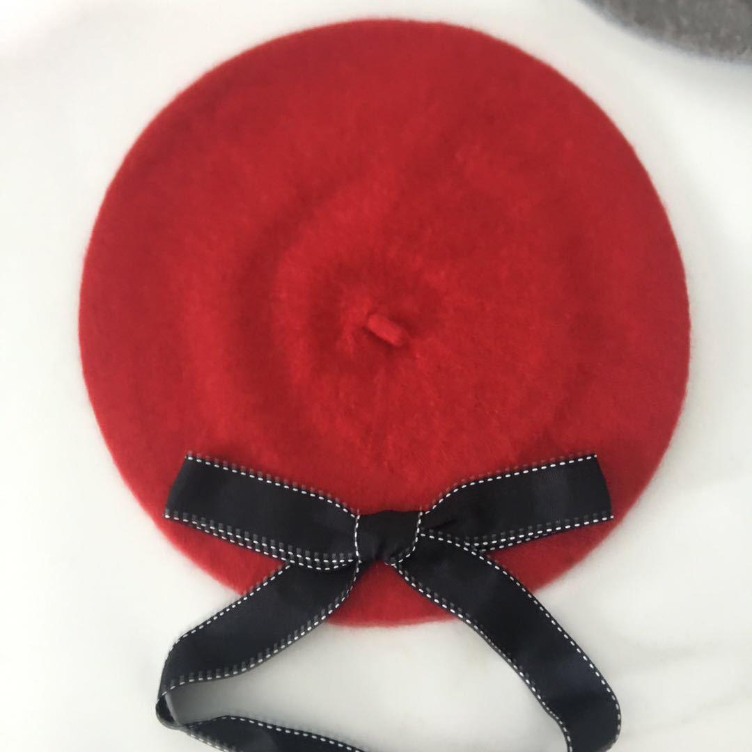 Новая мода женские мягкие элегантные береты с бантом зимняя теплая шапка Harajuku шерстяной берет шапка с бантом - Цвет: red