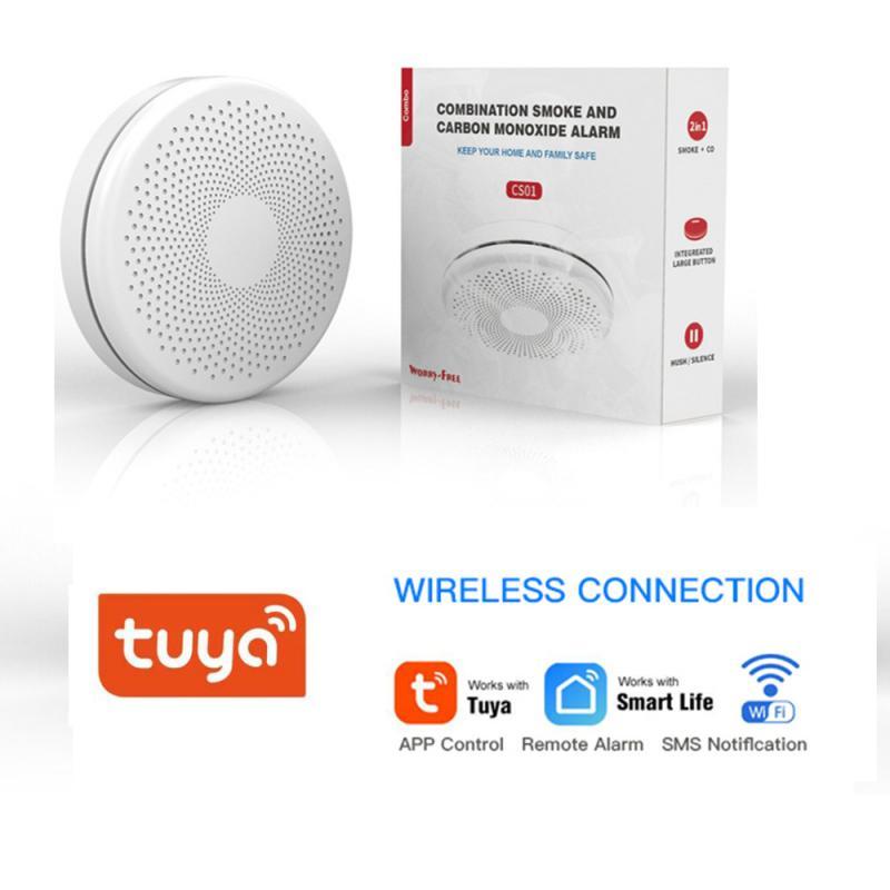 Датчик дыма и монооксида углерода Tuya Smart WiFi, домашний противопожарный детектор, датчик дыма, работает с приложением Tuya Smart Life