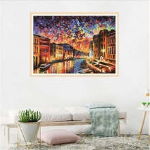 Dispaint Full Square/Round Drill 5D DIY Diamond Painting Riverside Architecture Design 3D Embroidery Cross Stitch Home Deco