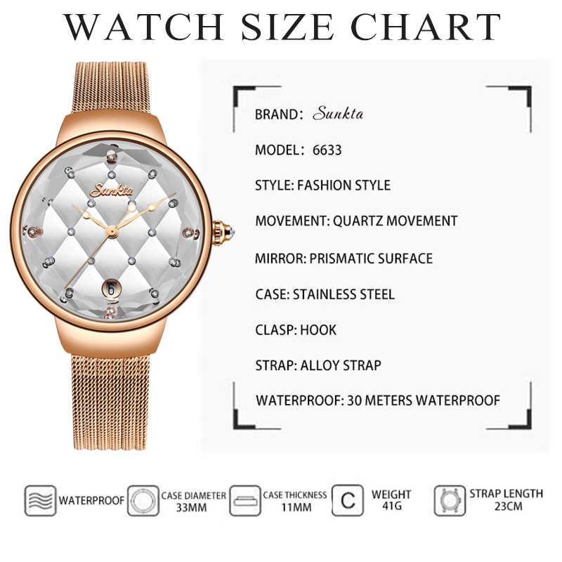 SUNKTA Kadınlar İzle Lüks kristal saat Kadın Su Geçirmez Gül Altın Çelik Kayış Bayanlar Kol Saatleri Üst Marka Bilezik Saat + Kutu
