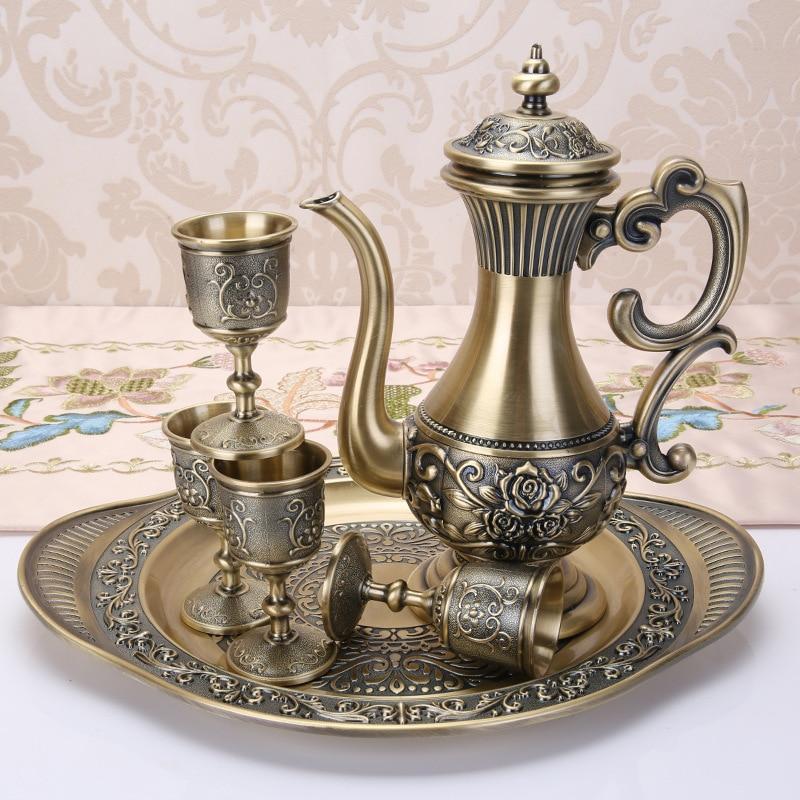 Bronze Sherbet Set Metal Zinc Alloy Sherbet Set, 1 set= 1 Plate+ 1 Pot +4 Cups For Table Craft Home Decoration