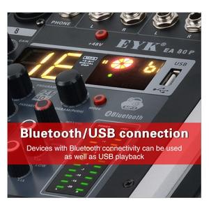 Image 4 - EYK EA80P 8 채널 믹싱 콘솔 2x150 와트/4 옴 전력 증폭기 전문 블루투스 레코드 USB 오디오 믹서 DJ