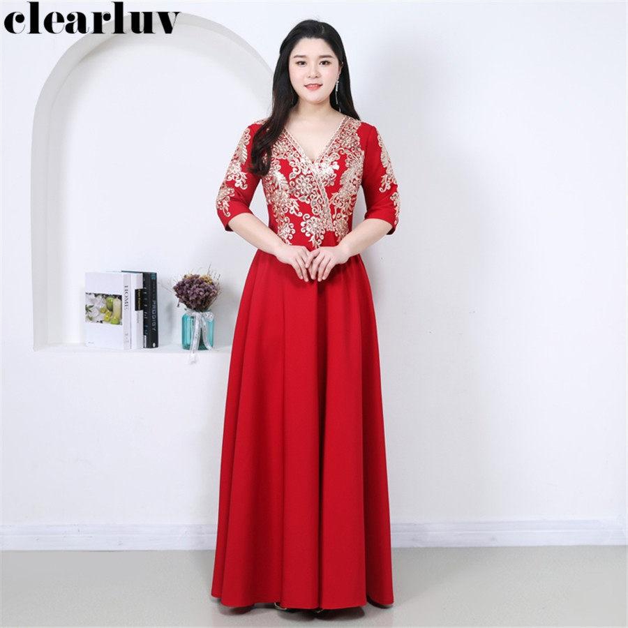 Evening Dress Long V-neck Pregnant Women Party Dresses T375 2019 Plus Size Elegant Robe De Soiree Vintage Embroidery Formal Gown
