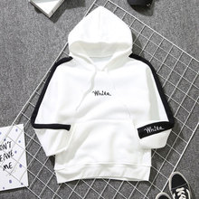 Milinsus Autumn Winter 2019 New Womens Hoodies Pullover Academic Letters Embroidered Loose White Sweatshirt