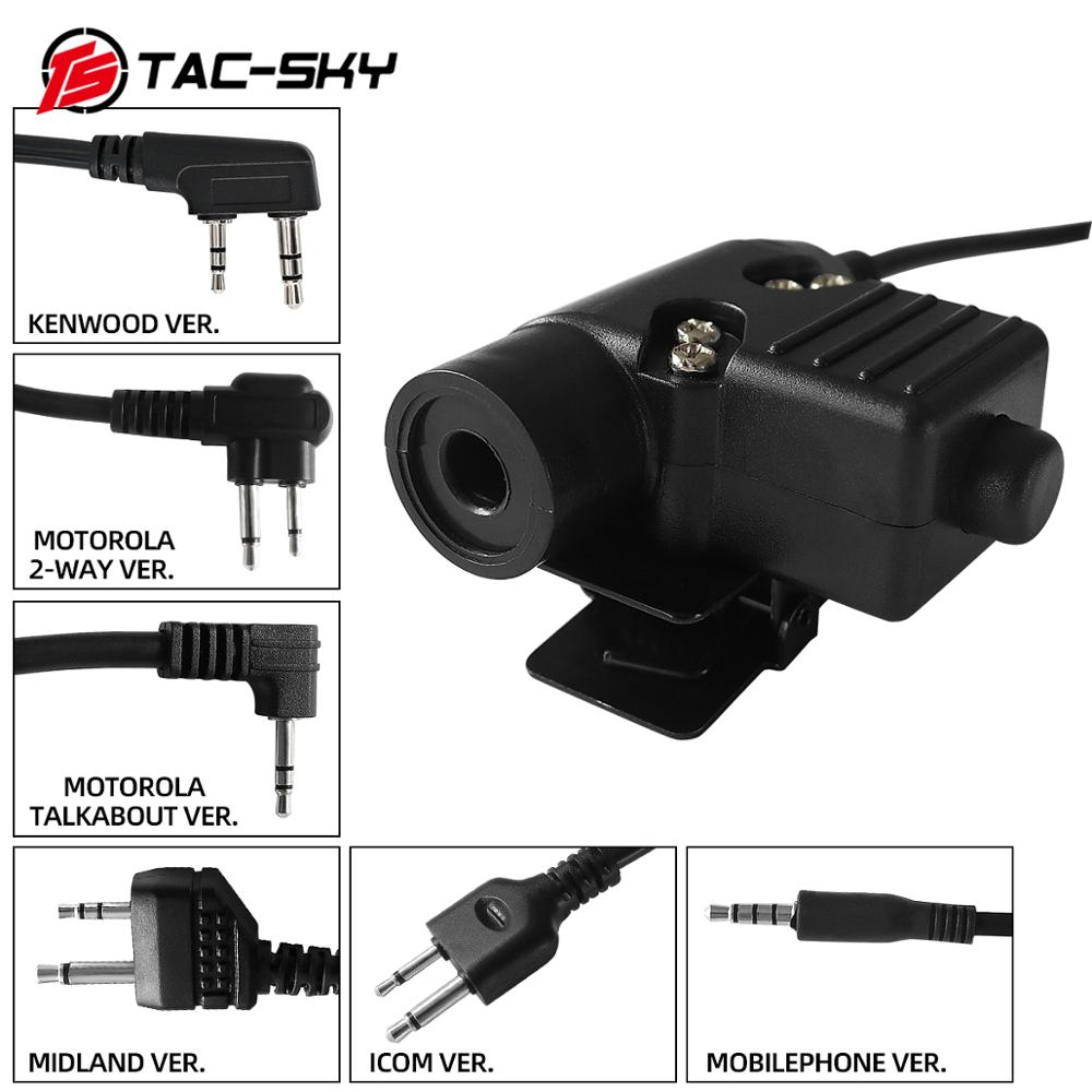TAC-SKY PTT U94 PTT Tactical Headset Walkie-talkie Accessories U94 Ptt Military Radio Headset Adapter PTT U94 PTT