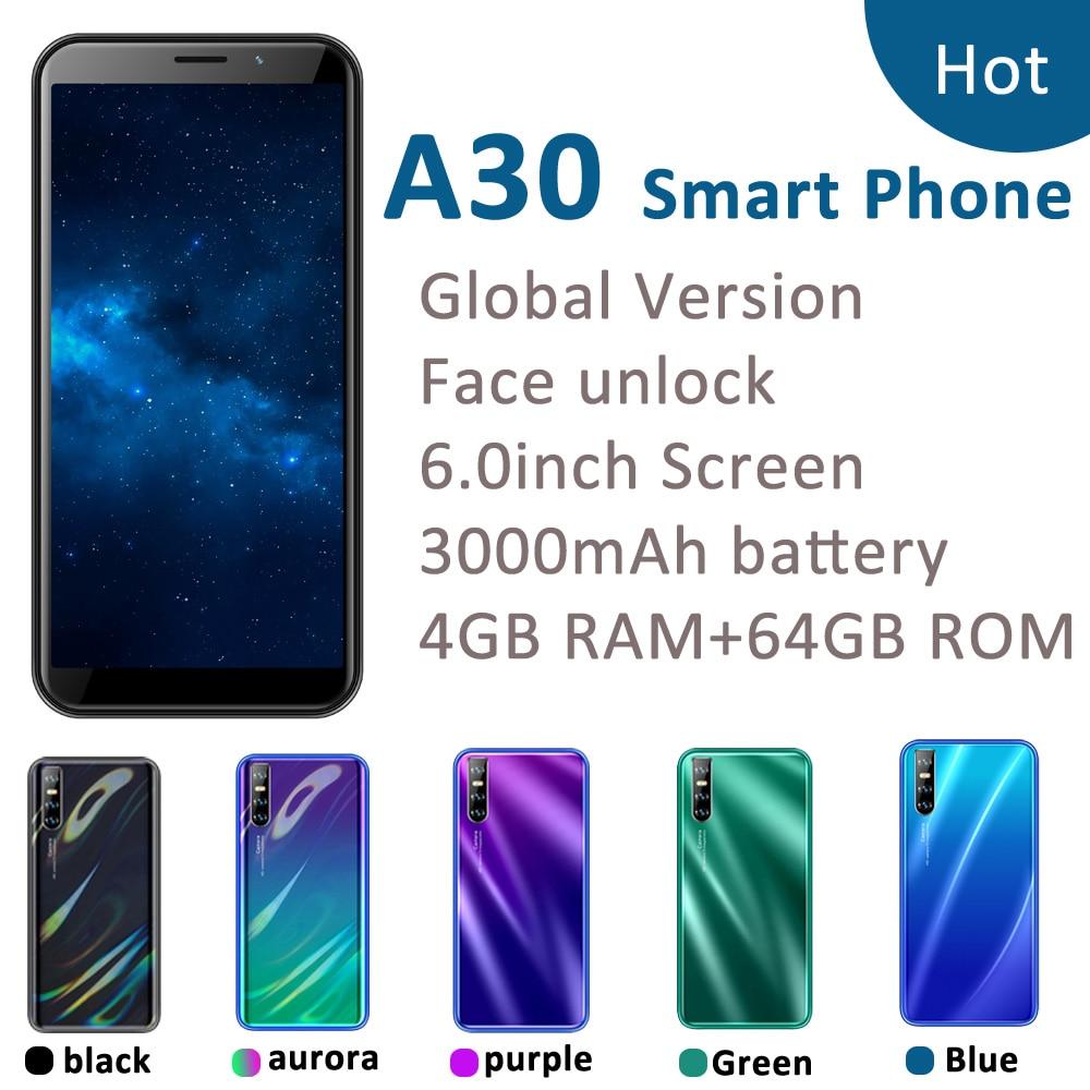 Мобильный телефон A30, 6,0-дюймовый полноэкранный дисплей, 4 Гб ОЗУ 64 Гб ПЗУ, четыре ядра, 13 МП, идентификация по лицу, разблокированный, android WCDMA, ...