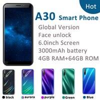Teléfono Inteligente A30, Pantalla Completa de 6,0 pulgadas, 4G RAM, 64G ROM, quad core13MP, identificación facial, desbloqueado, android, WCDMA, versión global
