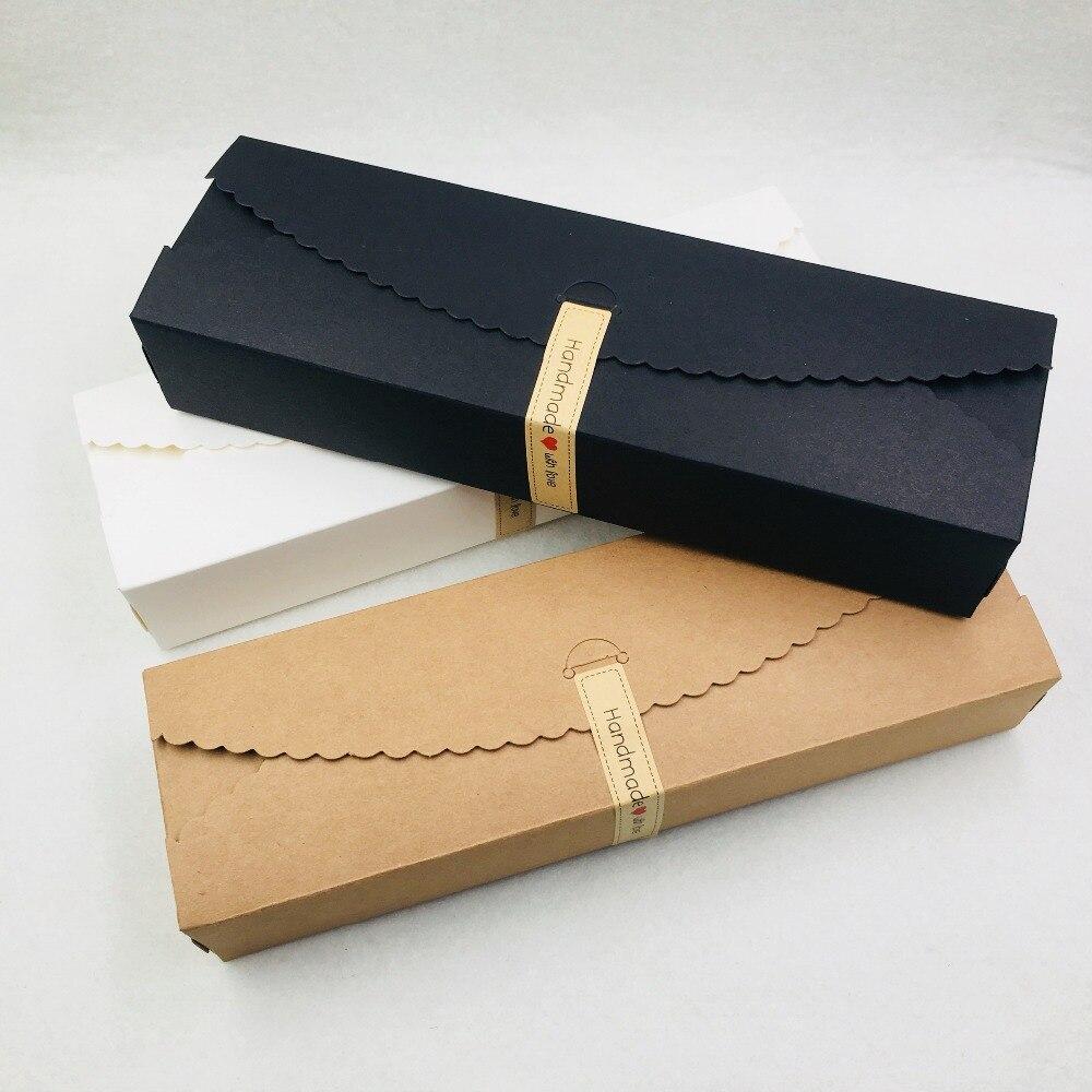 24 pièces Kraft papier rectangle fait à la main nougat boîtes d'emballage 23*7*4cm fleur/bijoux/boîte à bonbons, fête de mariage faveurs coffrets cadeaux