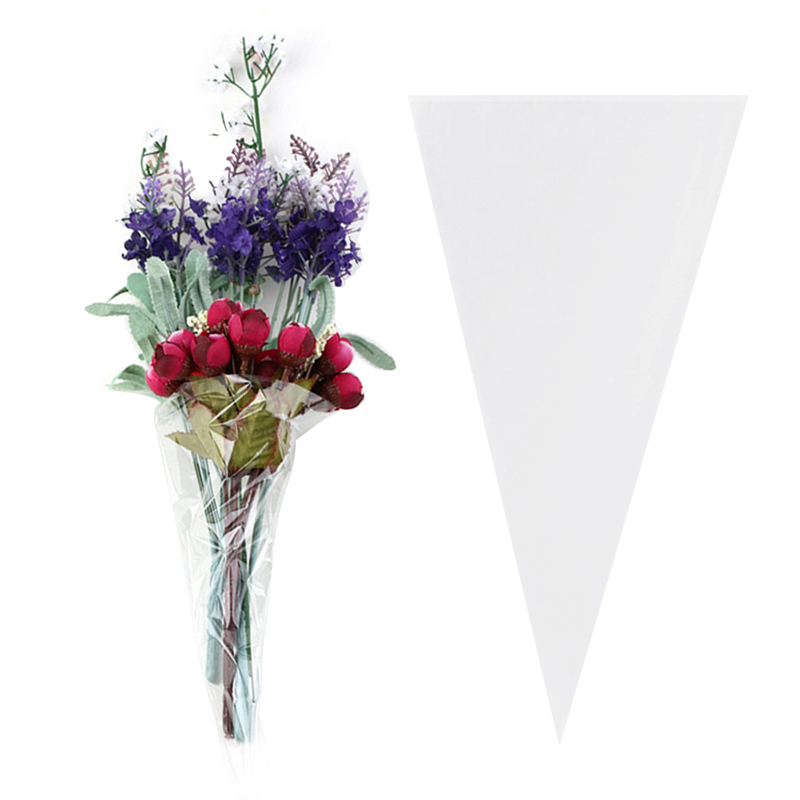 100pcs Transparent Candy Bags Wedding Birthday Party Decoration Sweet Cellophane Candy Bag Cone Storage Packaging Bag Hot Sale