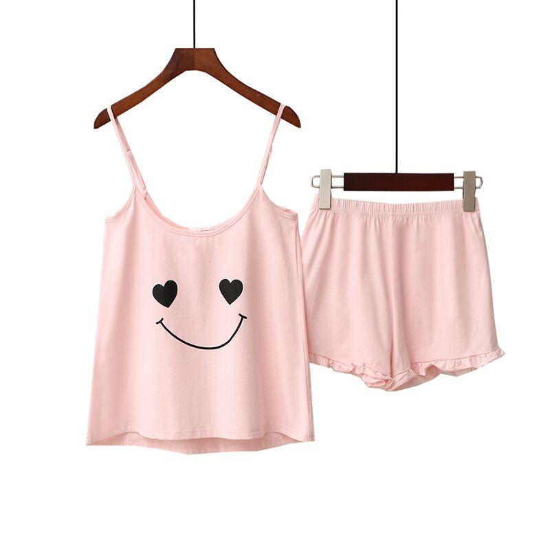 Two Pieces Cotton Pajama Set Sexy Cute Top And Shorts Pyjamas Spaghetti Strap Sleepwear High Elastic Pijama Nightie Home Clothes
