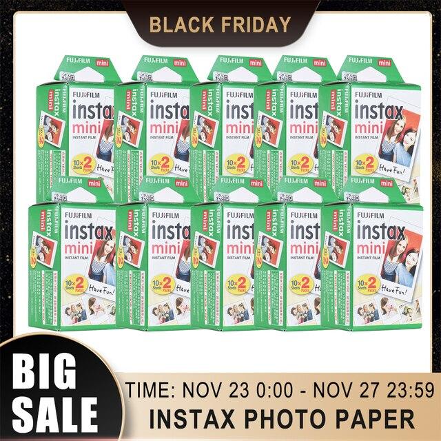 10 200 فوجي فوجي فيلم Instax Mini 11 9 8 7s 70 90 ورق طباعة الصور الأفلام حافة بيضاء 3 بوصة للكاميرا الفورية مع تنظيف الملابس