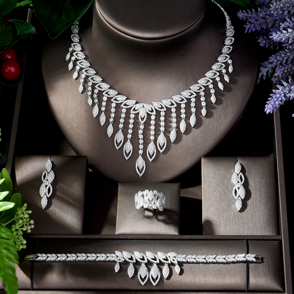 Image 2 - HIBRIDE Luxury Style Growing Leaves With AAA Cubic Zircon Elegant  Jewellry Sets Earring Necklace for Women Attending PartyN 1218Jewelry  Sets