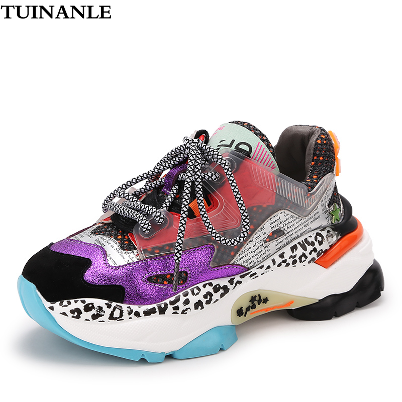 TUINANLE Platform Sneakers Women 2020 New 35-40 Black Woman Chunky Shoes Casual Boots Breathable Soft Shoes Mixed Color Sneakers