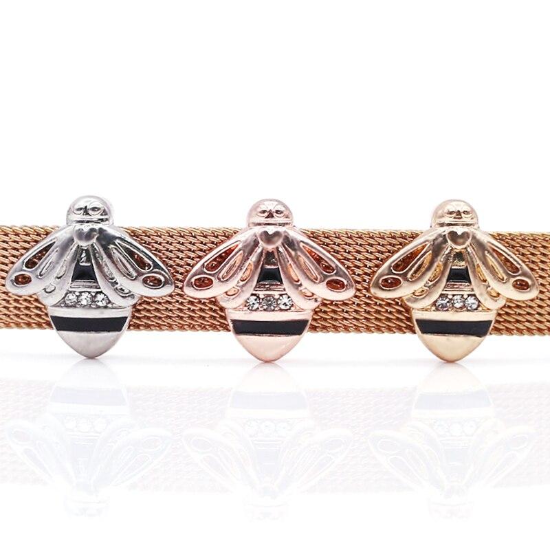 2 шт серебро розовое золото ракета Медведь Сердце Бусины Шарм Подходит 10 мм Нержавеющая сталь сетка браслет часы браслет в виде ремня из бисера - Цвет: GHJ00 (35)