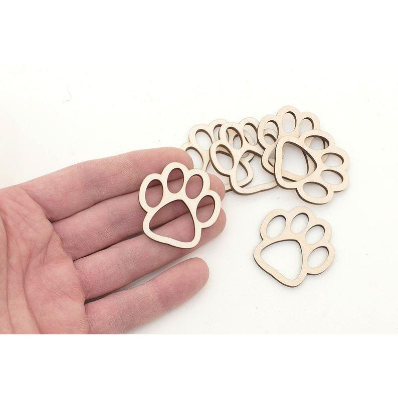 10x Wood Dog Paws (1,5