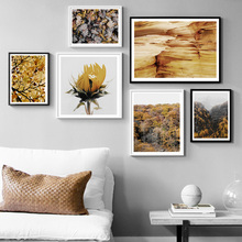 Autumn Mountain Golden Leaves Flower Wall Art Canvas Painting Nordic Posters And Prints Landscape Pictures For Living Room