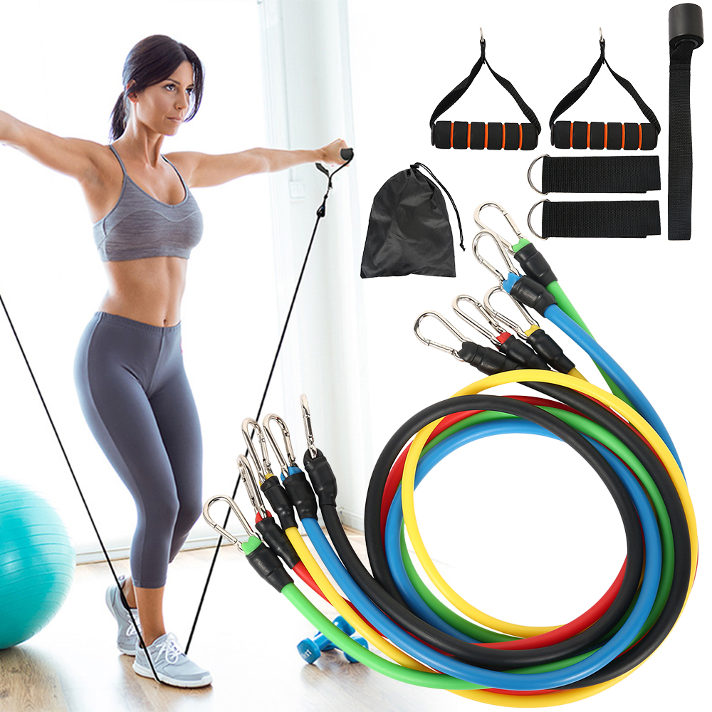 11 Pcs Fitness Pull Rope Latex Resistance Bands Training Exercise Yoga Tubes Pull Rope Strength Body Fitness Equipment For Home