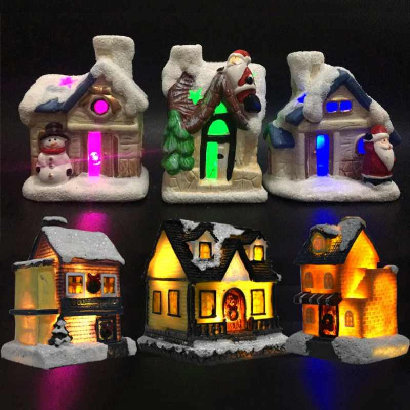 Christmas Mini Glowing House Ornaments LED Flashing Resin House with Colorful Light Christmas Party Home Luminous Decoration