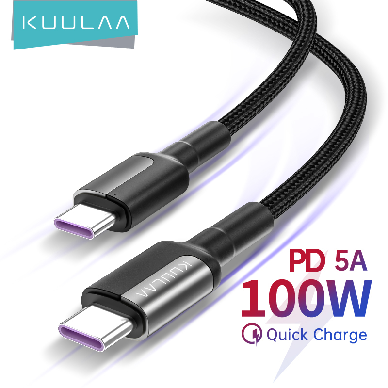 KUULAA USB C to USB Type C Cable PD 100W 60W Fast Charger Cord for Samsung MacBook iPad Quick Charge 4.0 USBC Wire Accessories