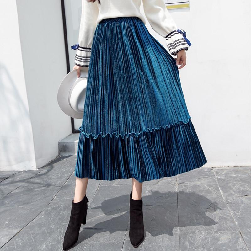 7 Colors Velvet Pleated Skirt Women Autumn Winter Elegant A Line High Waist S-XL Purple Elastic Black Skirts Womens