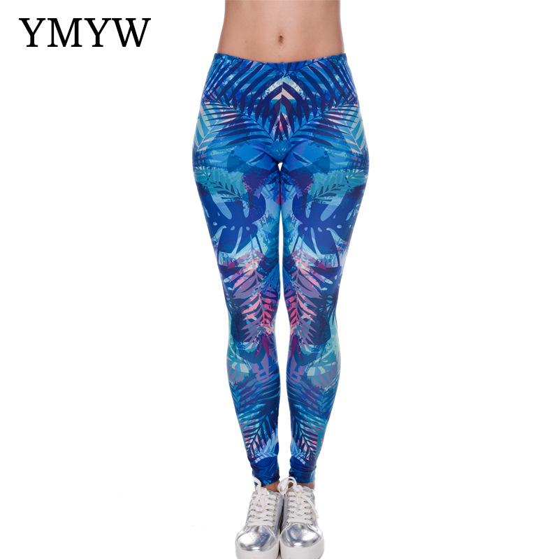 YMYW High Elasticity Casual Occident 3D Leaves Pattern Printed Leggings Sport Women Fitness Active Ankle-length Thin Slim лосины