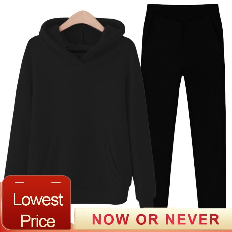 2020 deux pièces ensemble survêtement femmes chaud sweat à capuche et un pantalon grande taille ubrania damskie couleur unie ensemble femme hiver