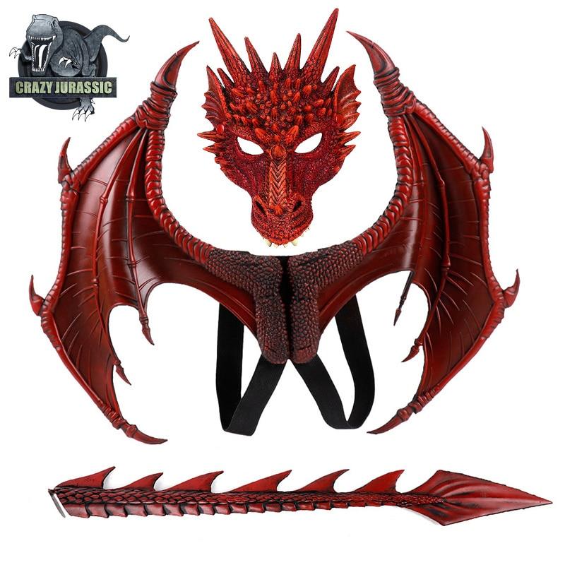 Dinosoaurio костюм Disfraz Purim подарок на Хэллоуин карнавальные вечерние Детские косплей реквизит крылья маска дракона хвост Детский костюм дракона