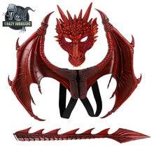 Dinosaurio traje disfraz purim halloween presente festa de carnaval crianças cosplay prop dragão asa máscara cauda crianças dragão traje