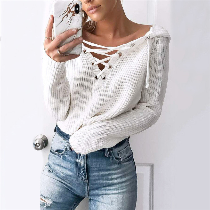 For Women Warm Winter And Autumn Female Baggy Lace Up Coat Chunky Knitted Sweater Women Oversize Sweater Jumper #FU