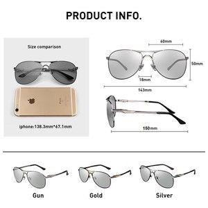 Image 5 - Caponi男性のフォトクロミッククラシックスタイル合金眼鏡ヴィンテージ偏光レンズavation男性UV400 BS8722