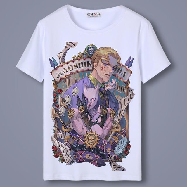 Casual T Shirt Men Anime JoJo's Bizarre Adventure Kujo Jotaro O-Neck Unisex Cosplay T-shirts Short Sleeve Tops Tee Shirts 1