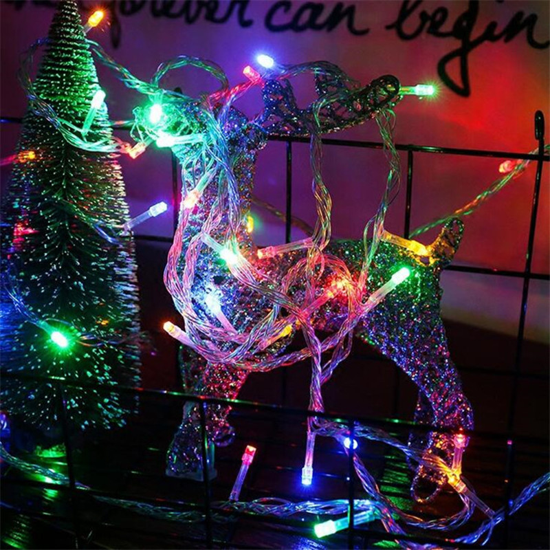 RGB LED String Light Christmas Tree Decoration Garland Outdoor Waterproof Holiday Fairy lights New Year Birthday Party Battery in LED String from Lights Lighting