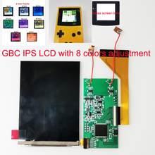 Display de tela cheia gbc ips lcd backlight para gameboy cor tela lcd ajuste do modelo de cor com pré-corte habitação escudo